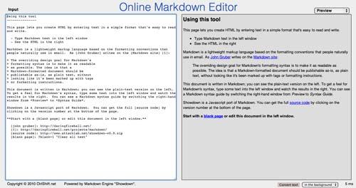 Lista de Markdown Editor: Online Markdown Editor