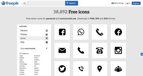 Sitios web donde descargar iconos en formato SVG: Freepik
