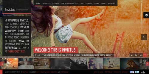 Temas WordPress premium para fotógrafos: Invictus