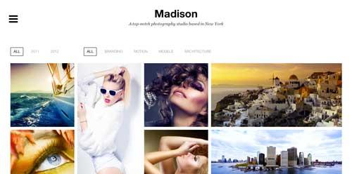 Temas WordPress premium para fotógrafos: Madison