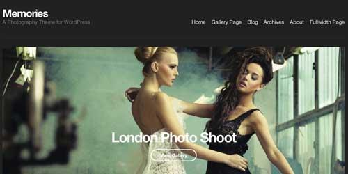 Temas WordPress premium para fotógrafos: Memories