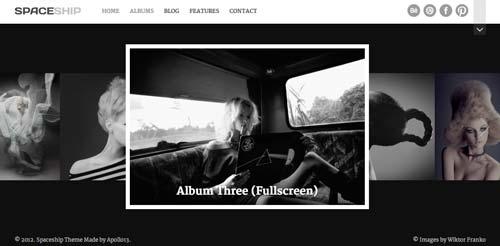 Temas WordPress premium para fotógrafos: Spaceship