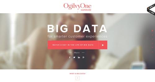 Ejemplos de uso de tipografía de gran tamaño: OgilvyOne