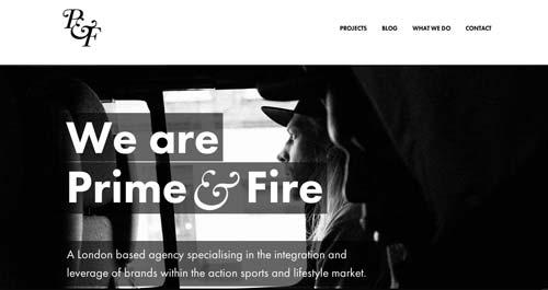 Ejemplos de uso de tipografía de gran tamaño: Prime & Fire