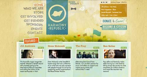 Uso efectivo de gradientes en páginas de destino: Harmony Republic