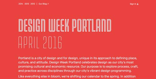 Ejemplos de tipografías para títulos: Design Week Portland