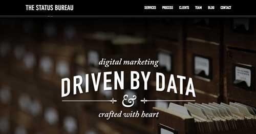 Ejemplos de tipografías para títulos: The Status Bureau