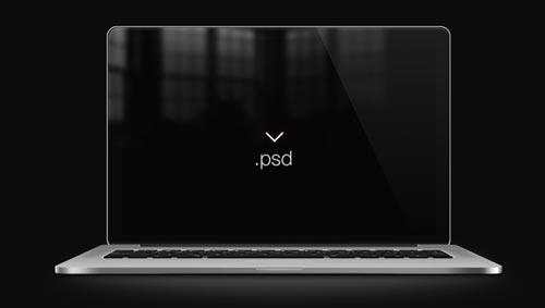 Archivos PSD gratuitos de dispositivos Apple para tus prototipos de aplicaciones: Retina mbp freebie