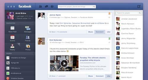 Conceptos de nuevo diseño de Facebook: Facebook for OS X de Arvid Brañe
