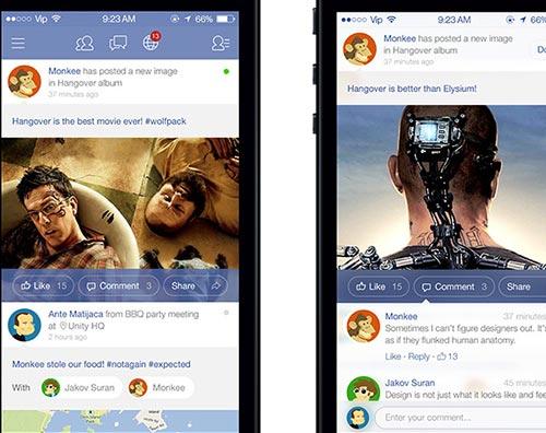 Conceptos de nuevo diseño de Facebook: Facebook iOS 7 Redesign de Unity