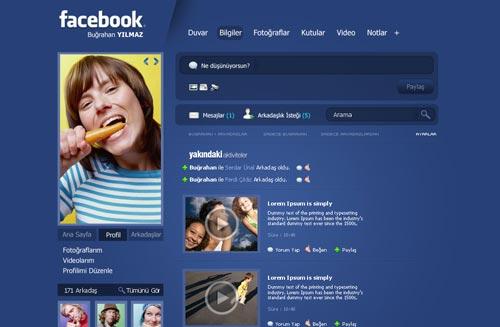 Conceptos de nuevo diseño de Facebook: Facebook Profile v3 de SencerBugrahan
