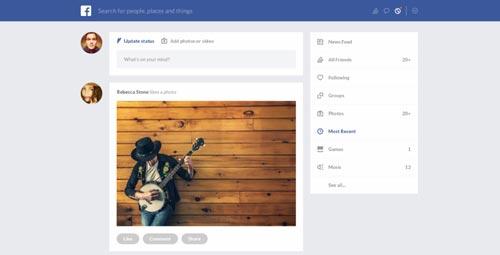 Conceptos de nuevo diseño de Facebook: Facebook Redesign de Naim Chayata