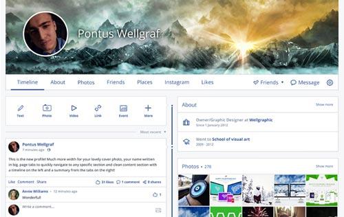 Conceptos de nuevo diseño de Facebook: Facebook Redesign de Pontus Wellgraf