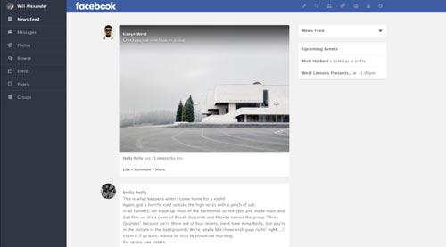 Conceptos de nuevo diseño de Facebook: Facebook Redesign de William Alexander