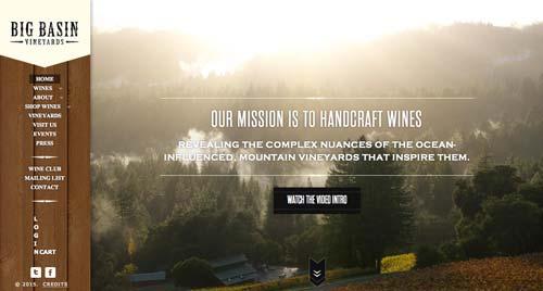 Ejemplos de paginas web de bodegas de vino: Big Basin Vineyards