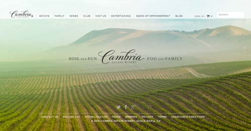 Ejemplos de paginas web de bodegas de vino: Cambria State Winery