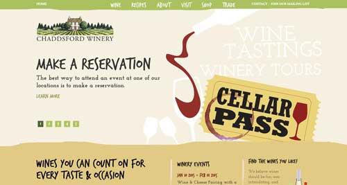 Ejemplos de paginas web de bodegas de vino: Chaddsford Winery