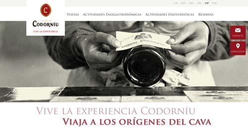 Ejemplos de paginas web de bodegas de vino: Codorníu Cavas