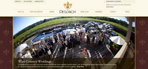 Ejemplos de paginas web de bodegas de vino: DeLoach Vineyards