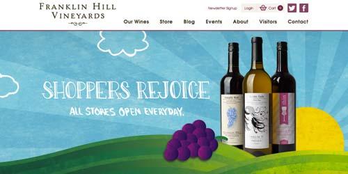 Ejemplos de paginas web de bodegas de vino: Franklin Hill Vineyards