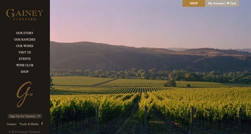Ejemplos de paginas web de bodegas de vino: Gainey Vineyard