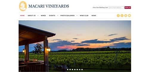 Ejemplos de paginas web de bodegas de vino: Macari Vineyards