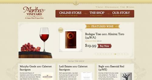 Ejemplos de paginas web de bodegas de vino: Martha's Vineyard