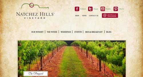 Ejemplos de paginas web de bodegas de vino: Natchez Hills Vineyards