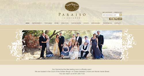 Ejemplos de paginas web de bodegas de vino: Paraiso Vineyards