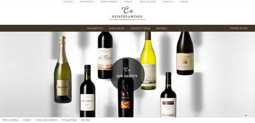 Ejemplos de paginas web de bodegas de vino: Estates & Wines