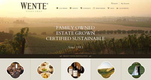 Ejemplos de paginas web de bodegas de vino: Wente Vineyards