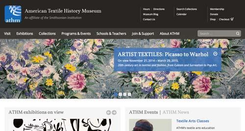 Ejemplos de paginas web de museos y galerías de arte: American Textile History Museum