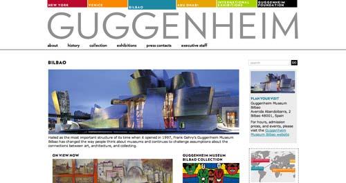 Ejemplos de paginas web de museos y galerías de arte: Guggenheim