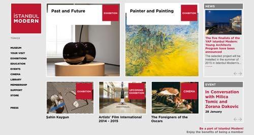 Ejemplos de paginas web de museos y galerías de arte: Istanbul Modern