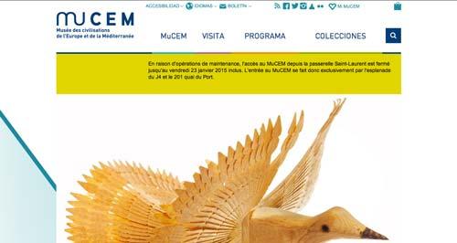 Ejemplos de paginas web de museos y galerías de arte: MuCEM