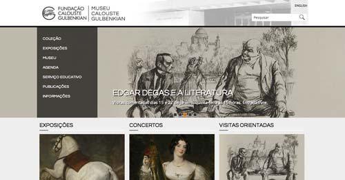 Ejemplos de paginas web de museos y galerías de arte: Museu Calou Gulbenkian