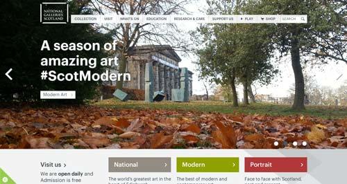 Ejemplos de paginas web de museos y galerías de arte: National Gallery of Scotland