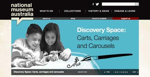 Ejemplos de paginas web de museos y galerías de arte: National Museum Australia