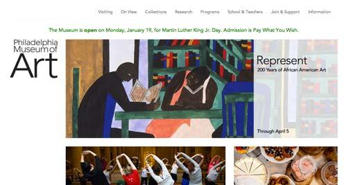 Ejemplos de paginas web de museos y galerías de arte: Philadelphia Museum of Art