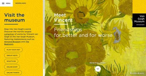 Ejemplos de paginas web de museos y galerías de arte: Van Gogh Museum