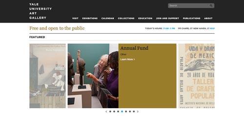 Ejemplos de paginas web de museos y galerías de arte: Yale University Art Gallery