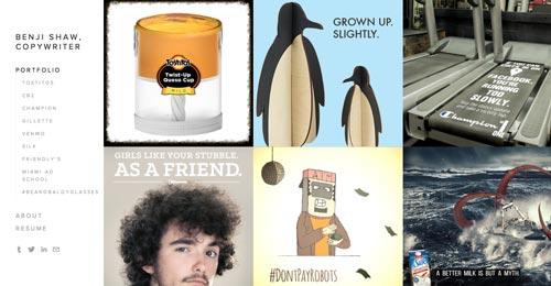 Ejemplos de paginas web de redactores creativos: Benji Shaw