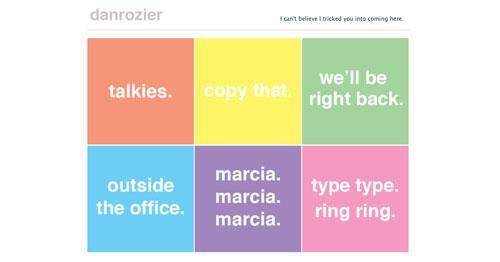 Ejemplos de paginas web de redactores creativos: Dan Rozier