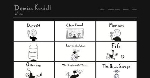 Ejemplos de paginas web de redactores creativos: Demian Kendall