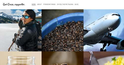 Ejemplos de paginas web de redactores creativos: Gari Cruze