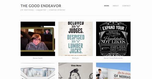 Ejemplos de paginas web de redactores creativos: Jim Morrissey