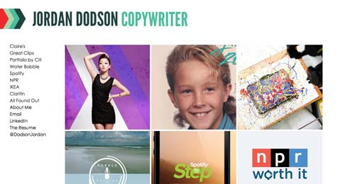 Ejemplos de paginas web de redactores creativos: Jordan Dodson
