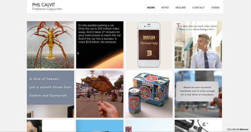 Ejemplos de paginas web de redactores creativos: Phil Calvit