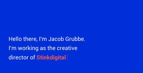 Ejemplos de sitios web que usan el color azul: Jacob Grubbe