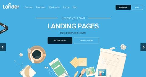 Ejemplos de sitios web que hacen uso del color azul: Lander